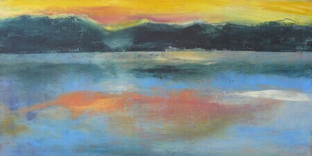 "'Yellow Sunset""  oil/cold wax on board, 12"" x 23 5/8"""