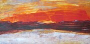 "'Red Skies' oil/cold wax on board 12"" x 24""x 1 5/8 """