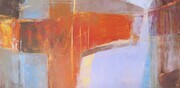 "'Abstraction - Pumpkin/Lavender'  oil/cold wax on board  12"" x 24"" x 1 5/8"""